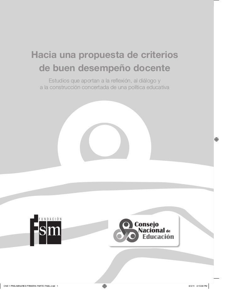 Índice                      Hacia una propuesta de criterios                       de buen desempeño docente              ...