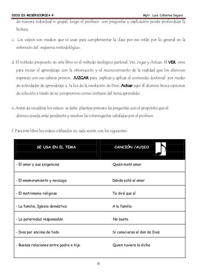 DIOS ES MISERICORDIA 4 Mgtr. Luis Collantes Segura 6 de manera individual o grupal, luego el profesor con preguntas y expl...