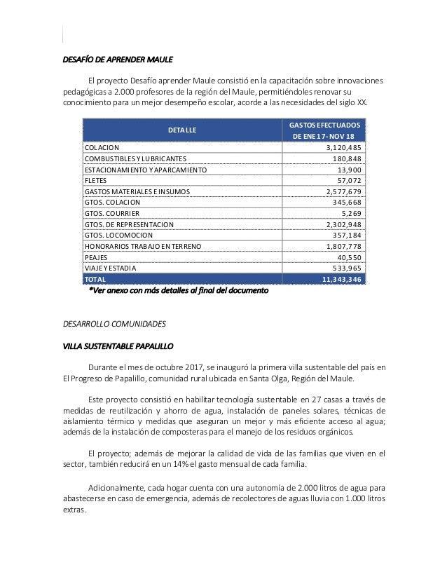 CUENTA PUBLICA ENERO 2017 – NOVIEMBRE 2018 DESAFÍO DE APRENDER MAULE El proyecto Desafío aprender Maule consistió en la ca...