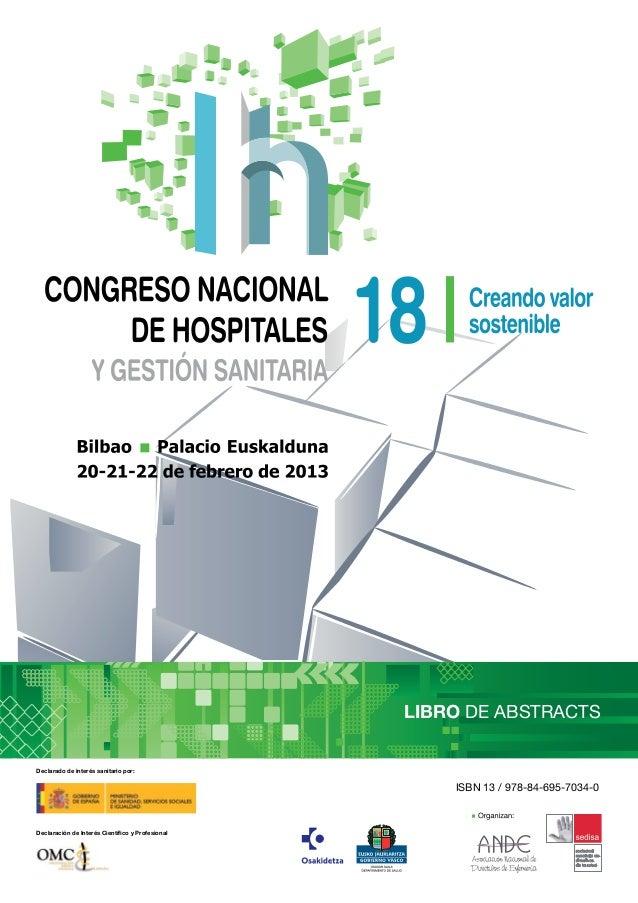 LIBRO DE ABSTRACTSDeclarado de interés sanitario por:                                                      ISBN 13 / 978-8...
