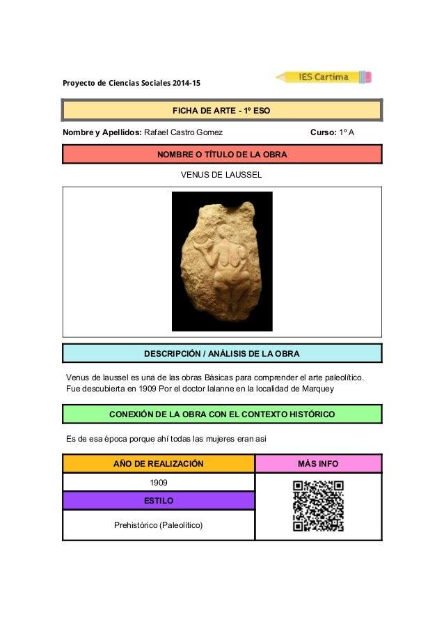 Proyecto de Ciencias Sociales 2014-15  FICHADEARTE1ºESO  NombreyApellidos:RafaelCastroGomez ...