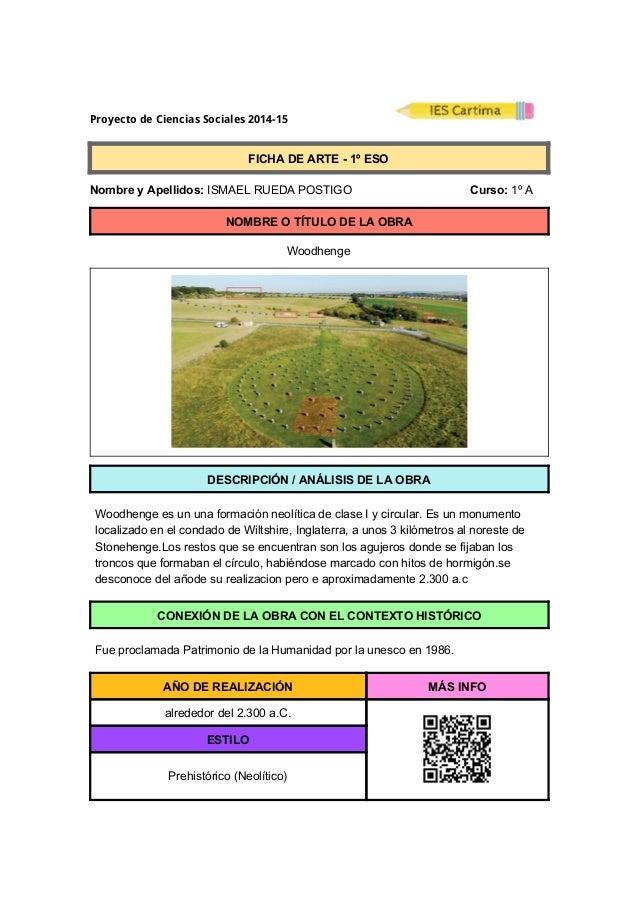 Proyecto de Ciencias Sociales 2014-15  FICHADEARTE1ºESO  NombreyApellidos:ISMAELRUEDAPOSTIGO...