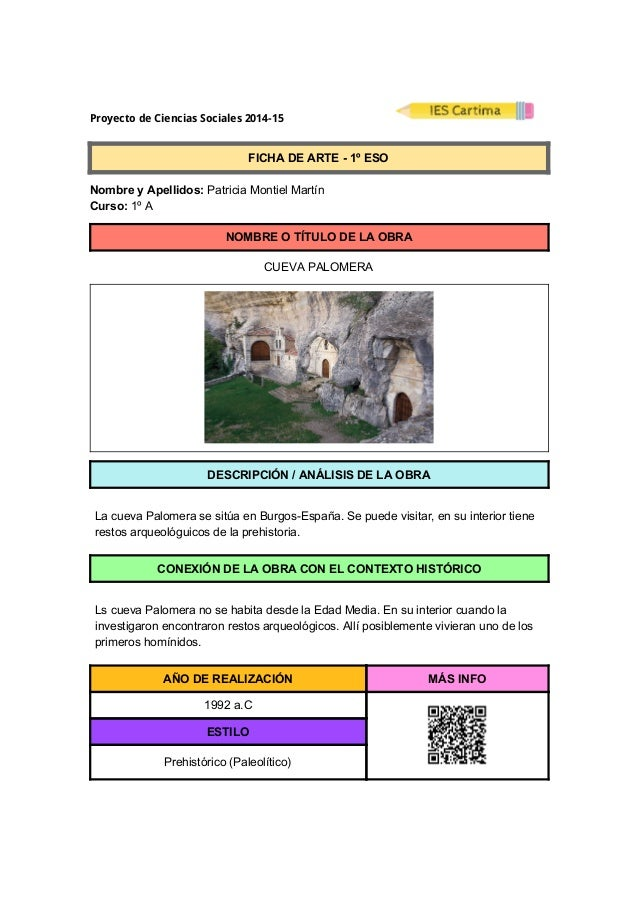 ProyectodeCienciasSociales2014-15  FICHADEARTE1ºESO  NombreyApellidos:PatriciaMontielMartín  ...
