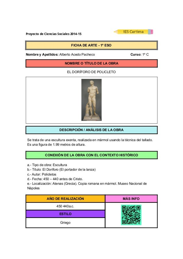 ProyectodeCienciasSociales2014-15  FICHADEARTE1ºESO  NombreyApellidos:AlbertoAcedoPacheco...