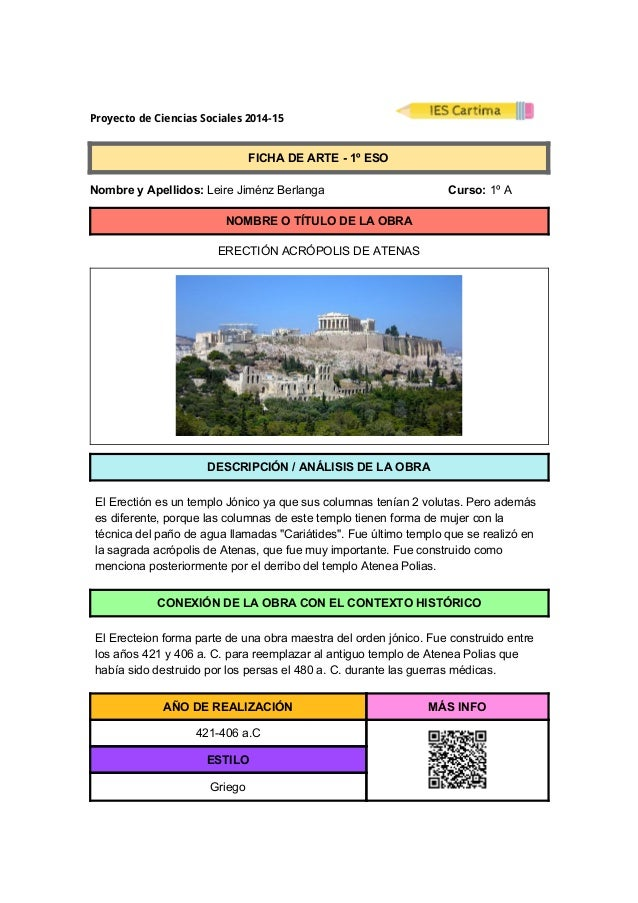 ProyectodeCienciasSociales2014-15  FICHADEARTE1ºESO  NombreyApellidos:LeireJiménzBerlanga C...