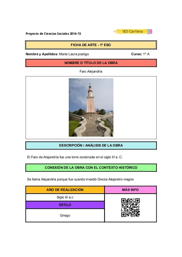 ProyectodeCienciasSociales2014-15  FICHADEARTE1ºESO  NombreyApellidos:MariaLaurapostigo ...
