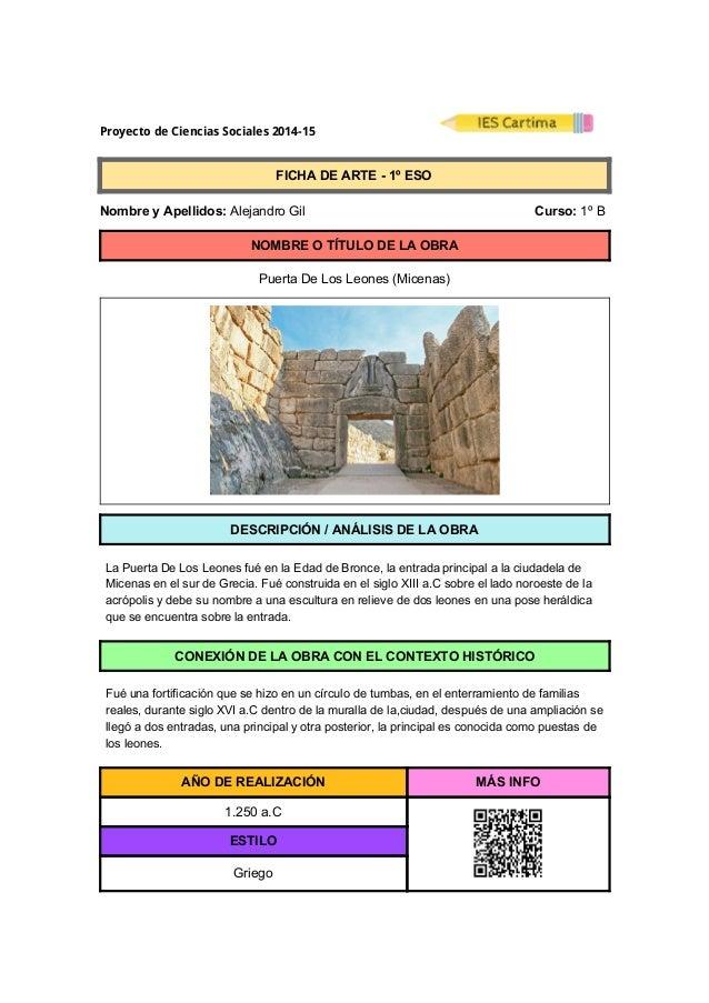 ProyectodeCienciasSociales2014-15  FICHADEARTE1ºESO  NombreyApellidos:AlejandroGil ...
