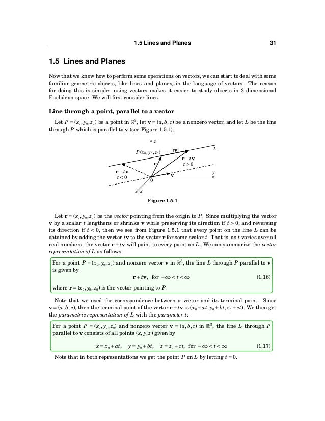 32 CHAPTER 1. VECTORS IN EUCLIDEAN SPACE In formula (1.17), if a = 0, then we can solve for the parameter t: t = (x−x0)/a....