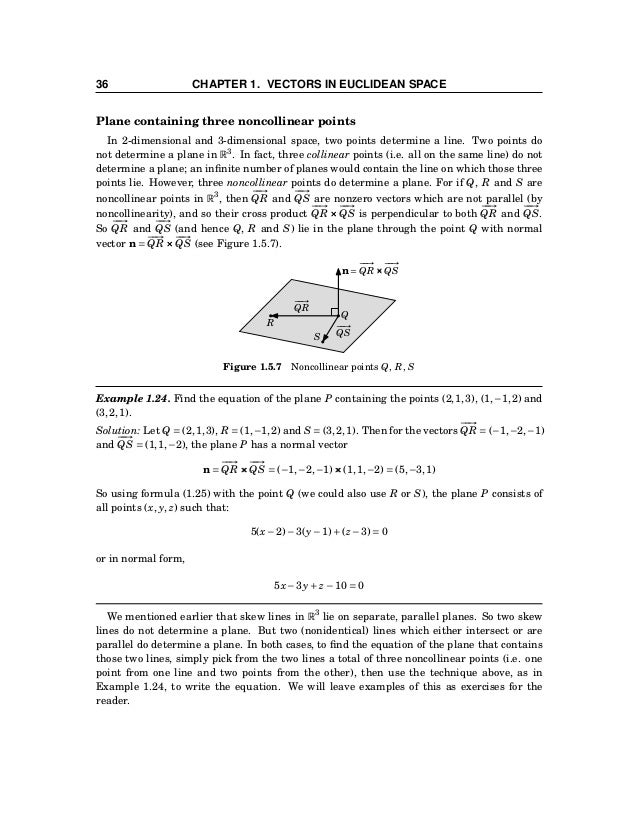 1.5 Lines and Planes 37 Distance between a point and a plane The distance between a point in R3 and a plane is the length ...