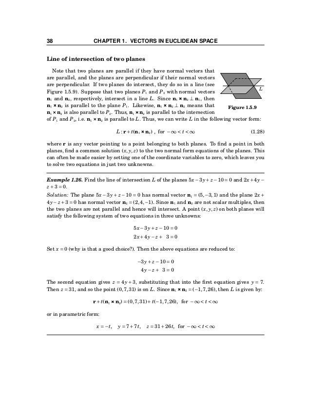 1.5 Lines and Planes 39 Exercises A For Exercises 1-4, write the line L through the point P and parallel to the vector v i...