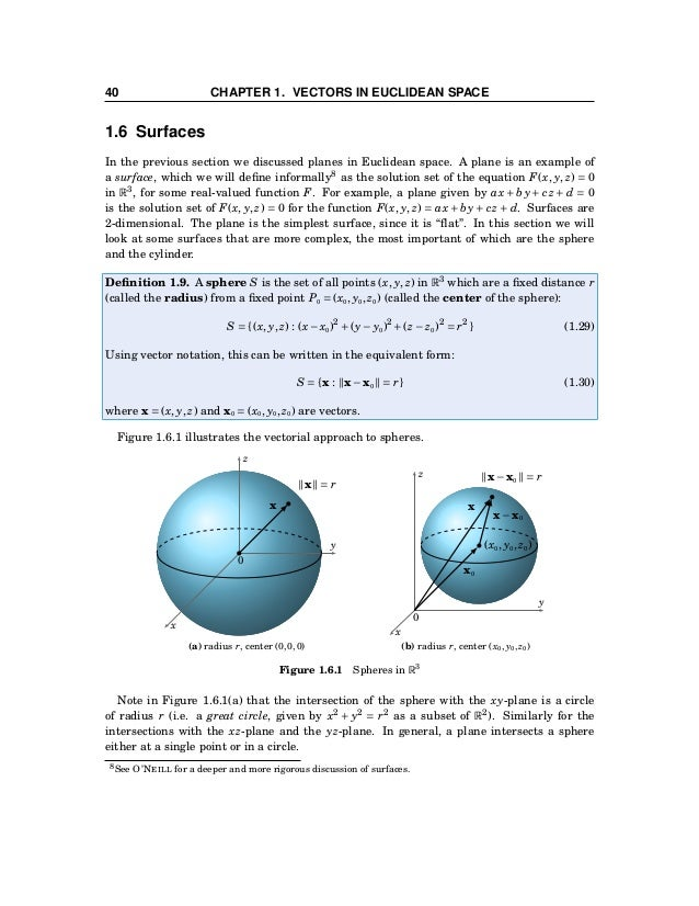 1.6 Surfaces 41 Example 1.27. Find the intersection of the sphere x2 + y2 + z2 = 169 with the plane z = 12. y z x 0 z = 12...