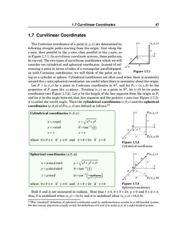 48 CHAPTER 1. VECTORS IN EUCLIDEAN SPACE Example 1.31. Convert the point (−2,−2,1) from Cartesian coordinates to (a) cylin...