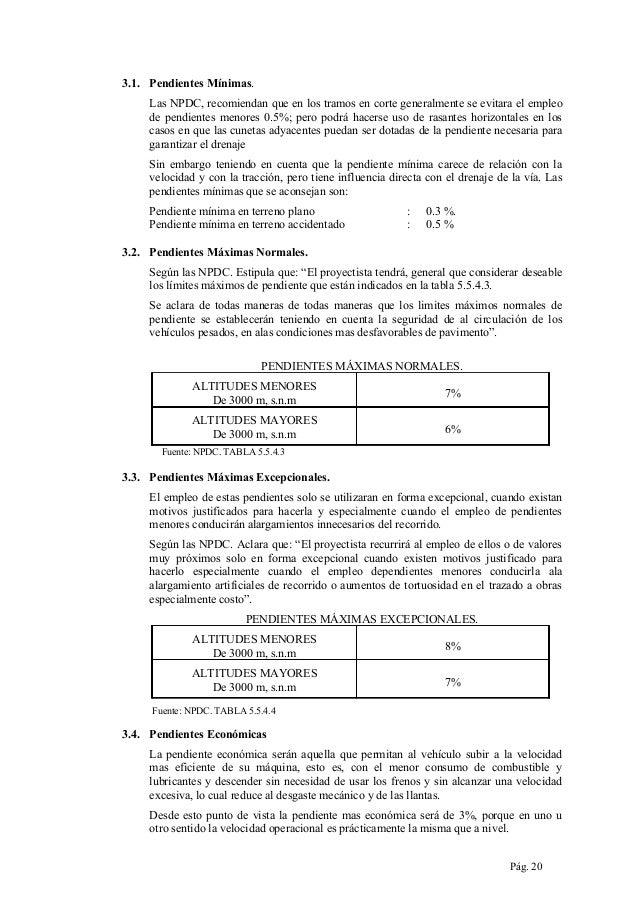 3.1. Pendientes Mínimas. Las NPDC, recomiendan que en los tramos en corte generalmente se evitara el empleo de pendientes ...