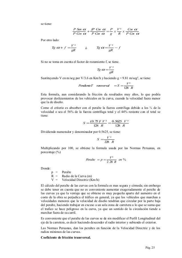 se tiene: P Sen α fP C α os P V² C α os + = x x PC α os P Cos α g R PC α os  Por otro lado: Tg α + f =  V² gR  Tg α =  ó  ...