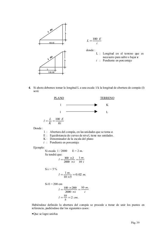 L=  100.00  100 E i  donde : L : Longitud en el terreno que es necesario para subir o bajar e i : Pendiente en porcentaje ...