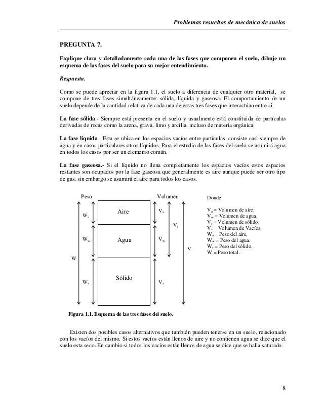 Problemas resueltos de mecánica de suelos  8  PREGUNTA 7.  Explique clara y detalladamente cada una de las fases que compo...