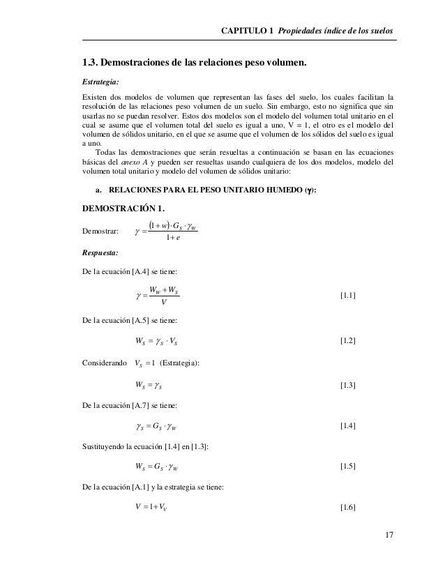 CAPITULO 1 Propiedades índice de los suelos  17  1.3. Demostraciones de las relaciones peso volumen.  Estrategia:  Existen...