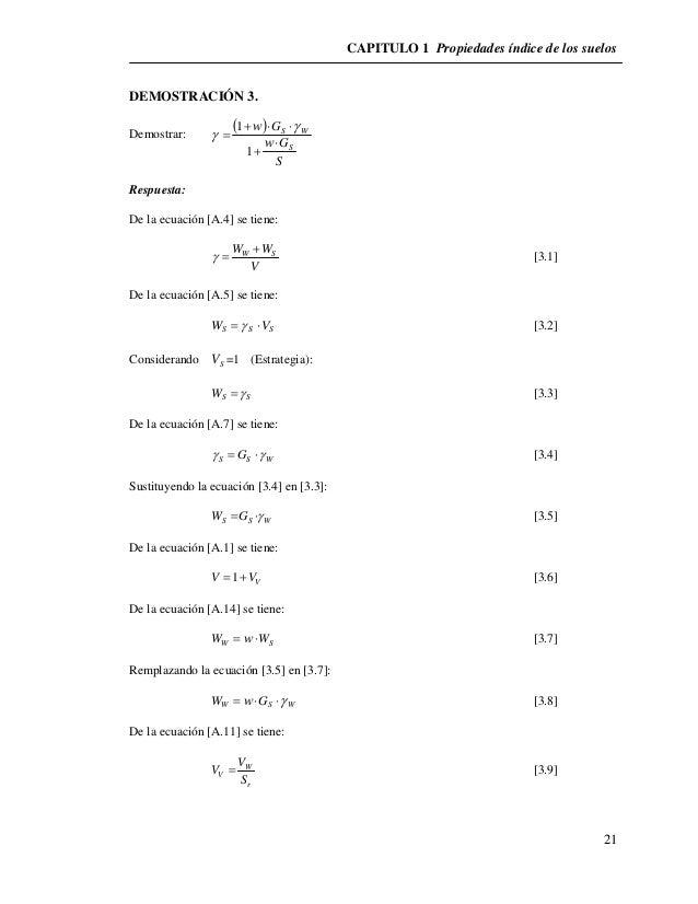 CAPITULO 1 Propiedades índice de los suelos  21  DEMOSTRACIÓN 3.  Demostrar:     1   G      S W  G  S  S  w  w    ...