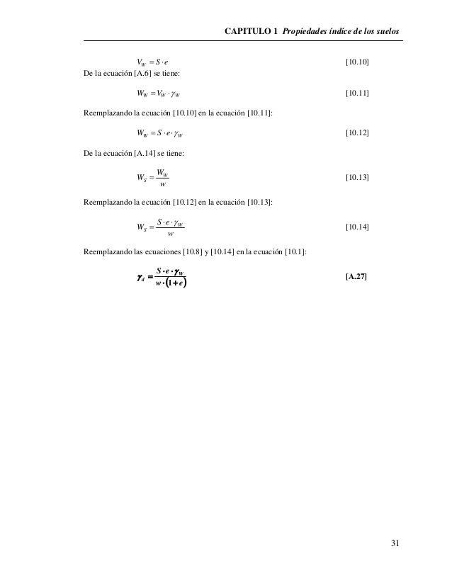 CAPITULO 1 Propiedades índice de los suelos  31  V S e W   [10.10]  De la ecuación [A.6] se tiene:  W W W W V  [10.11...