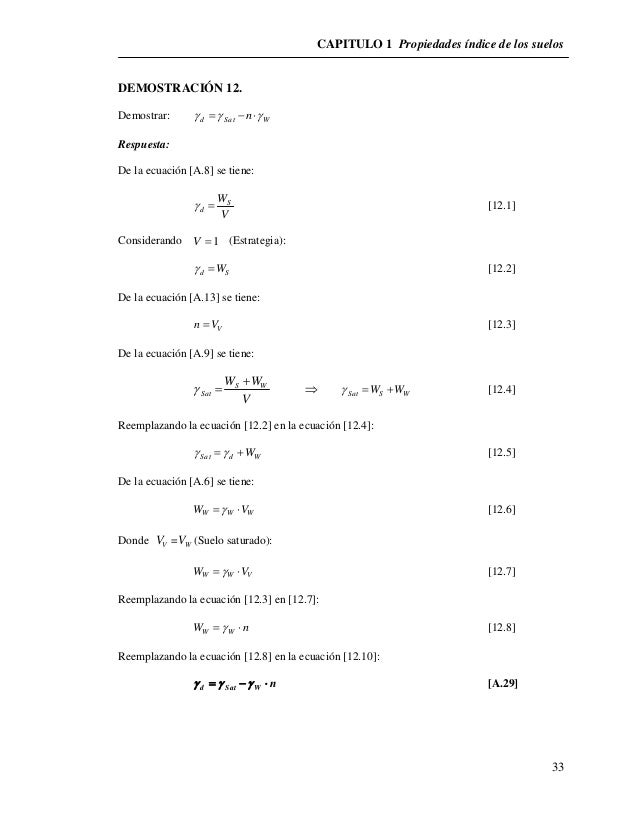 CAPITULO 1 Propiedades índice de los suelos  33  DEMOSTRACIÓN 12.  Demostrar: d Sat W    n  Respuesta:  De la ecuaci...