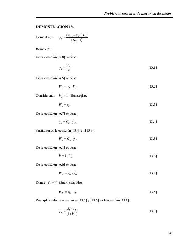 Problemas resueltos de mecánica de suelos  34  DEMOSTRACIÓN 13.  Demostrar:          G  Sat W S   1    S    d G...