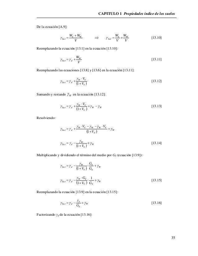 CAPITULO 1 Propiedades índice de los suelos  35  De la ecuación [A.9]:  W WS W  V  Sat        W W  S W  Sat    [13....