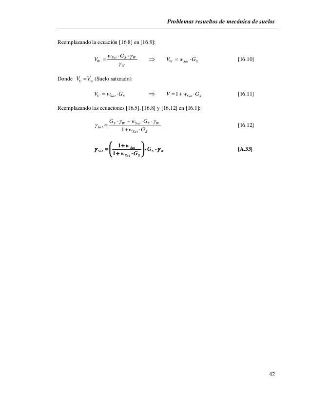 Problemas resueltos de mecánica de suelos  42  Reemplazando la ecuación [16.8] en [16.9]:     Sat S W    W Sat S V  ...