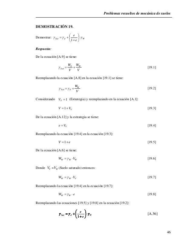 Problemas resueltos de mecánica de suelos  46  DEMOSTRACIÓN 19.  e            Demostrar: Sat d W e         1 ...