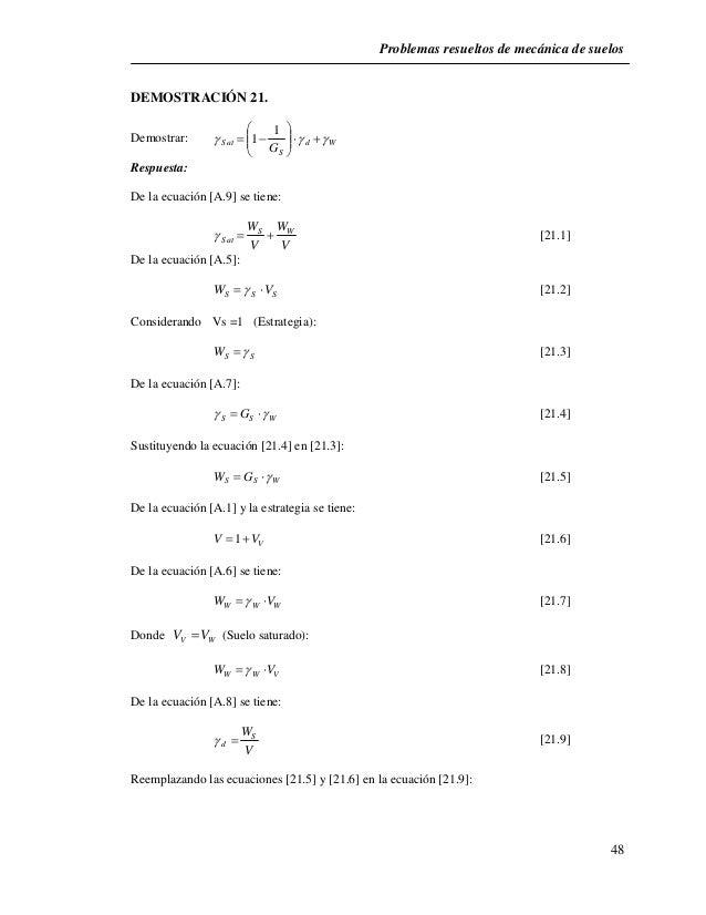 Problemas resueltos de mecánica de suelos  48  DEMOSTRACIÓN 21.                 Demostrar: d W  Sat G  S     ...
