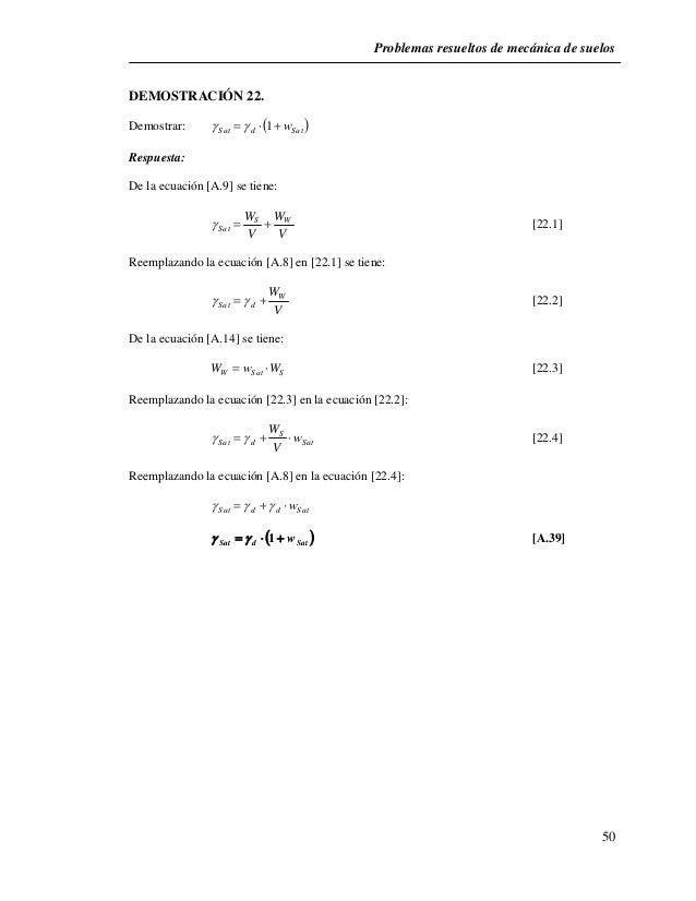 Problemas resueltos de mecánica de suelos  50  DEMOSTRACIÓN 22.  Demostrar: Sat d  Sat     1 w  Respuesta:  De la e...
