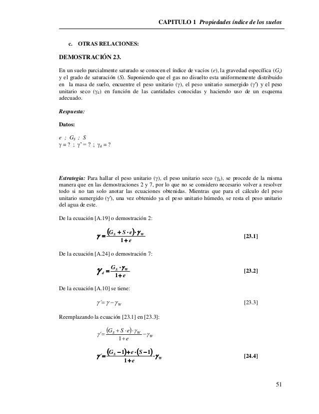 CAPITULO 1 Propiedades índice de los suelos  51  c. OTRAS RELACIONES:  DEMOSTRACIÓN 23.  En un suelo parcialmente saturado...