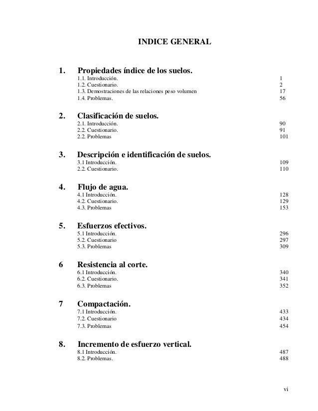 vi  INDICE GENERAL  1. Propiedades índice de los suelos.  1.1. Introducción. 1  1.2. Cuestionario. 2  1.3. Demostraciones ...