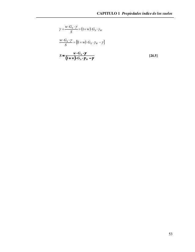 CAPITULO 1 Propiedades índice de los suelos  53    S W  G     S w  G  S  w         1              S G  ...