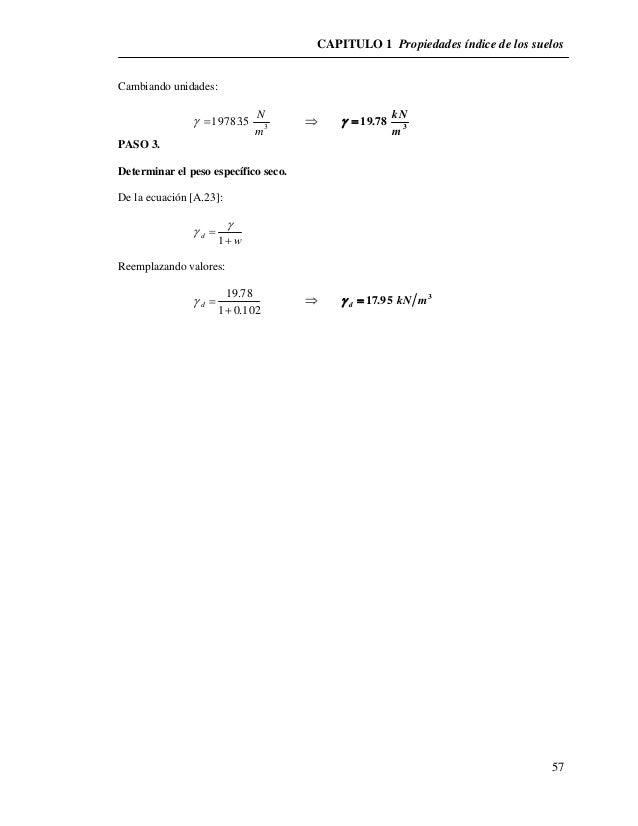 CAPITULO 1 Propiedades índice de los suelos  57  Cambiando unidades:  N      3  19783.5  m  kN  3  19.78  m     PASO ...