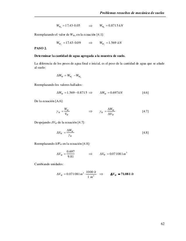 Problemas resueltos de mecánica de suelos  62  W  17.43  0.05   W 0.8715  kN W W 0  0    Reemplazando el valor de WWo ...