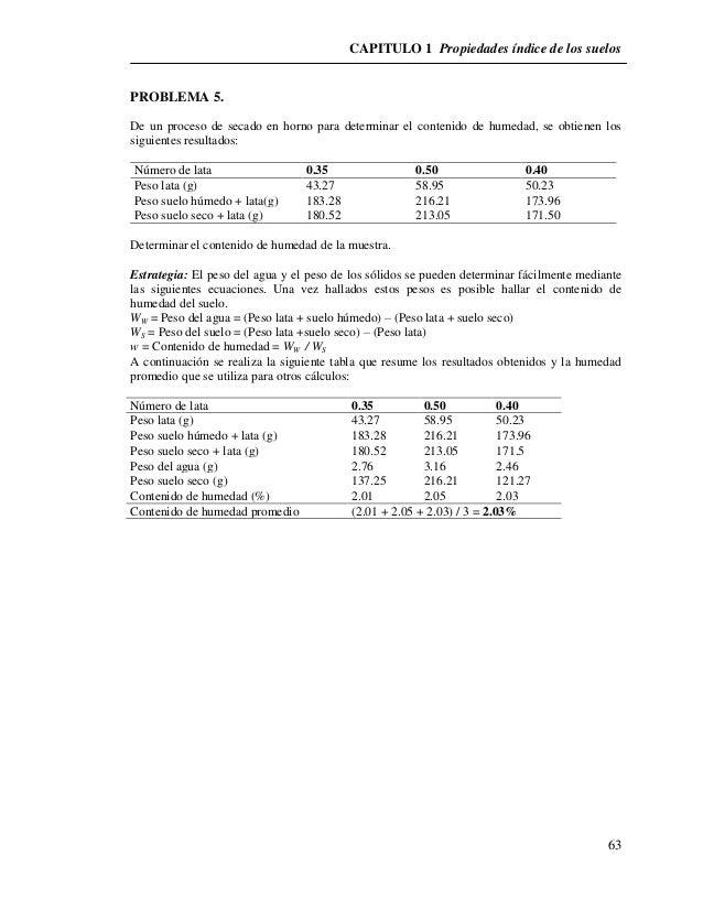 CAPITULO 1 Propiedades índice de los suelos  63  PROBLEMA 5.  De un proceso de secado en horno para determinar el contenid...