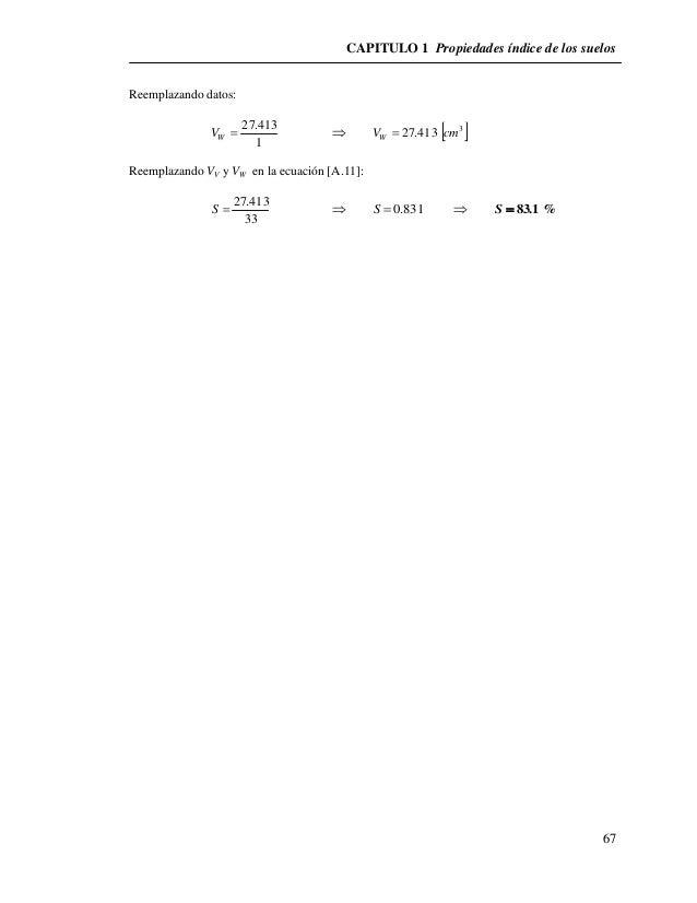 CAPITULO 1 Propiedades índice de los suelos  67  Reemplazando datos:  27.413   W V   3  V 27.413 cm W   1  Reemplazan...