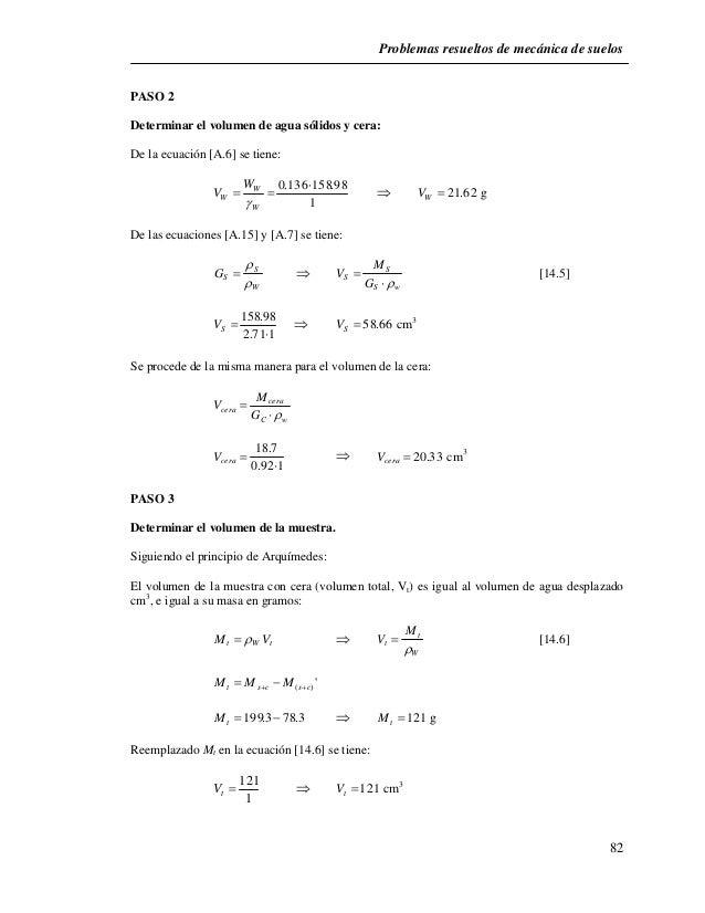 Problemas resueltos de mecánica de suelos  82  PASO 2  Determinar el volumen de agua sólidos y cera:  De la ecuación [A.6]...