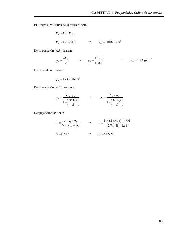 CAPITULO 1 Propiedades índice de los suelos  83  Entonces el volumen de la muestra será:  m t cera V V V  121 20.3 m V...