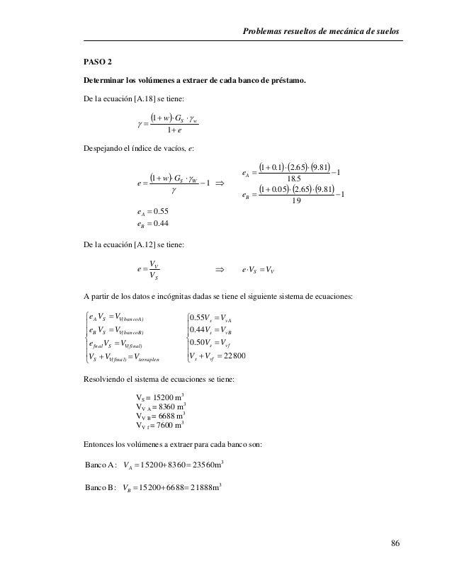 Problemas resueltos de mecánica de suelos  86  PASO 2  Determinar los volúmenes a extraer de cada banco de préstamo.  De l...