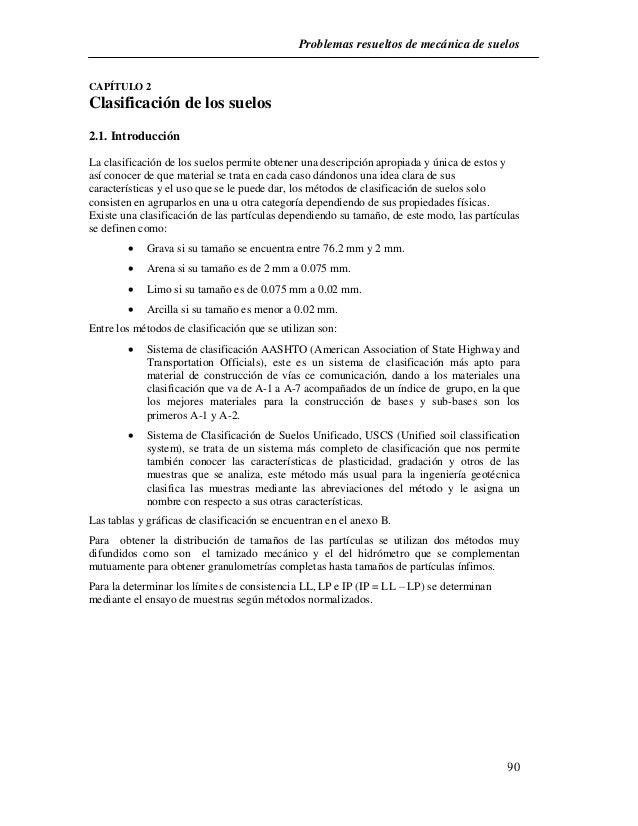 Problemas resueltos de mecánica de suelos  90  CAPÍTULO 2  Clasificación de los suelos  2.1. Introducción  La clasificació...