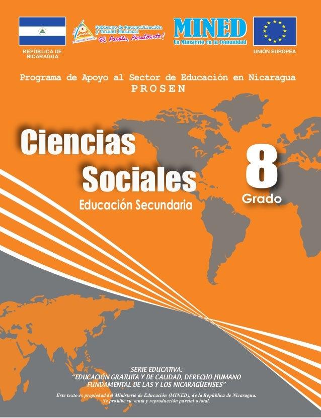 """REPÚBLICA DE NICARAGUA Educación Secundaria Ciencias Sociales SERIE EDUCATIVA: """"EDUCACIÓN GRATUITA Y DE CALIDAD, DERECHO H..."""