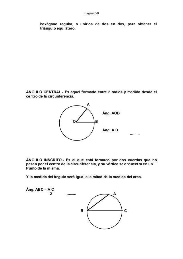 Vistoso Arcos ángulos Centrales E Inscritos Respuestas ángulos De ...
