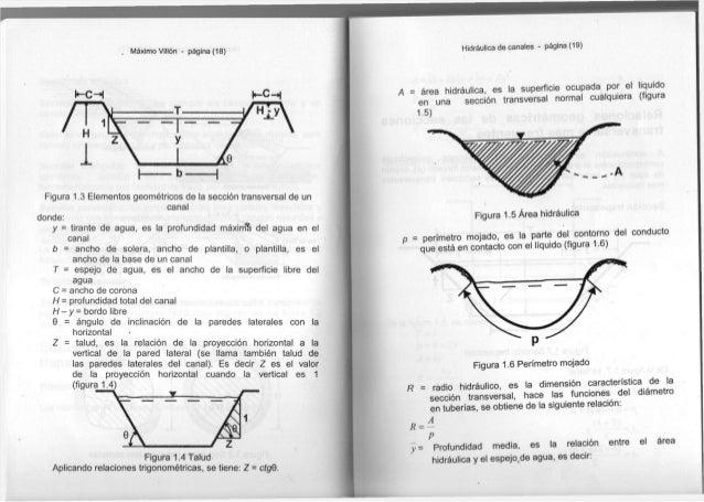 Máximo Villón - página (18) Figura 1.3 Elementos geométricos de la sección transversal de un canal donde: y = tirante de a...