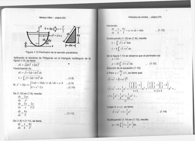 Máximo Villón - página ( 3 2 ) F i g u r a 1 . 1 3 Perímetro d e l a sección parabólica. A p l i c a n d o e l t e o r e m...