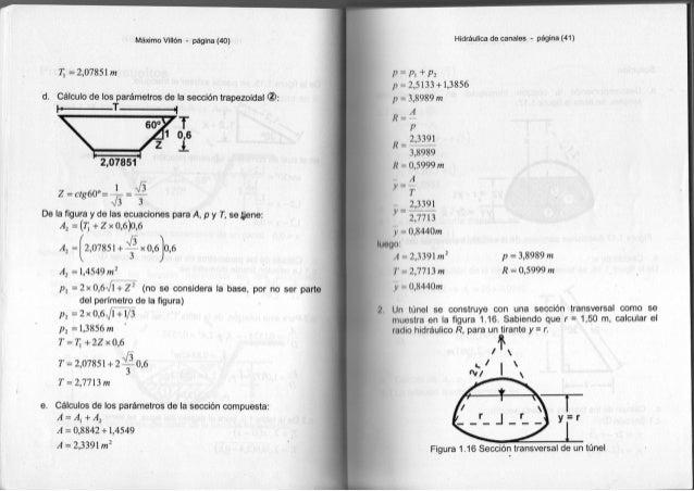 Máximo Villón - página (40) 7¡ = 2 , 0 7 8 5 l m d. Cálculo de los parámetros de la sección trapezoidal h T I 2,07851 Z=Ct...