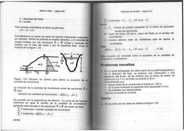 Máximo Villón - página ( 5 6 ) 5 = d e n s i d a d d e l fluido Q = caudal P a r a c a n a l e s prismáticos s e t i e n e...