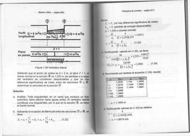 M á x i m o Villón - página (60) Perfil Q = 6 m 3 / s longitudinal © 2m i 3 / ^ o,W = > Q • 4 m3/s ' = > 4 m3/s T Figura 1...