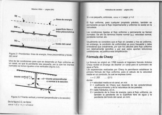"""Máximo Villón - página (64) SE ^ s w - ^ ~~ •"""""""" c línea de energía superficie libre o línea piezométrica SO. fondo del can..."""