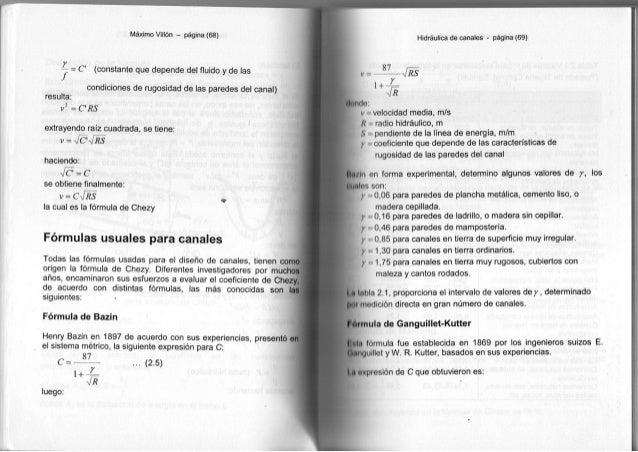 Máximo Villón - página (68) y -j = C (constante que depende del fluido y de las condiciones de rugosidad de las paredes de...